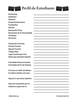 FREE Beginning of the Year, Back to School Student Profile Sheet ~ in Spanish