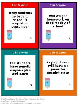 FREE Beginning of the Year Edit and Write Sentences