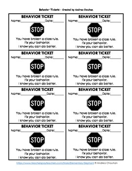 FREE Class Cash and Behavior Tickets for Classroom Management