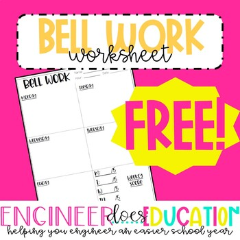FREE Bell Work Weekly Answer Sheet