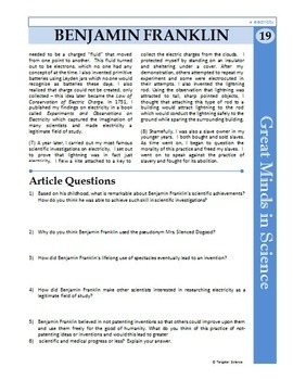 Benjamin Franklin -Great Minds in Science Article #19- Science Literacy Sub Plan