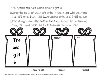 FREE! Best Winter Holiday Gift: Opinion Writing Accordion Fold Gr. 1-4
