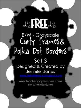 FREE Big Dot Border Curly Frames B/W Grayscale
