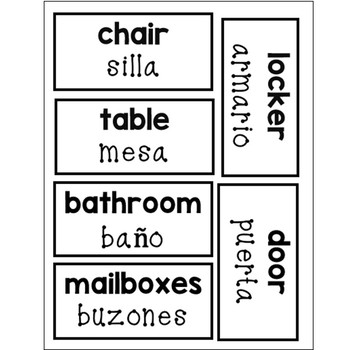 FREE Bilingual Classroom labels and desk toppers