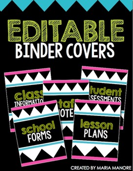 free binder covers editable by maria gavin teachers pay teachers