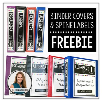 FREE Secondary Math Binder Covers and Spine Labels