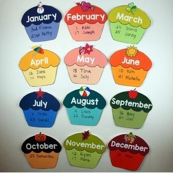 Birthday Calendar.Free Birthday Cupcake Calendar Back To School Decor Speech Therapy