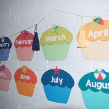 FREE Birthday Cupcake Calendar | Back to School Decor | Speech Therapy