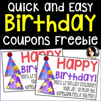 FREE Birthday NO HOMEWORK Coupons FREEBIE