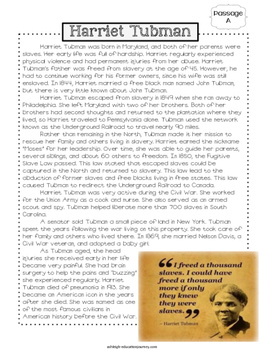 FREE Black History Close Reading-Harriet Tubman {Includes Google Slides}