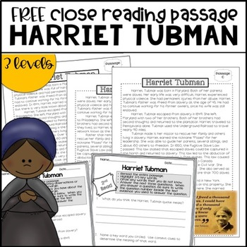 FREE Black History Close Reading-Harriet Tubman {Includes