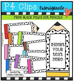 FREE Black Polka Dot Pencil Labels {P4 Clips Triorignals Digital Clipart}