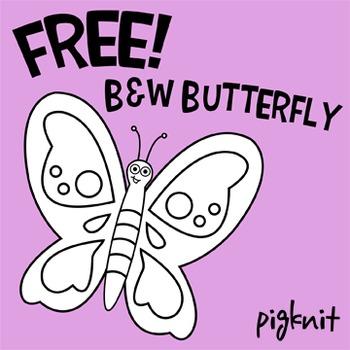 FREE - Black & White Butterfly png -- Spring Season Clip Art