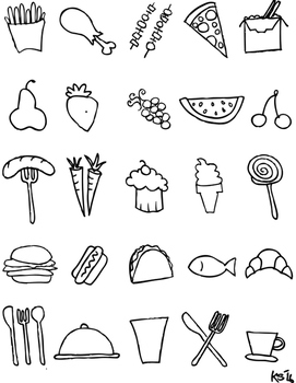 FREE Black and White Food Clipart!