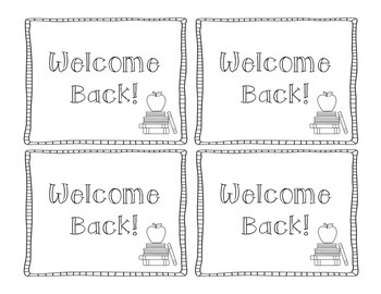 FREE Blackline Basics Welcome Back Postcards