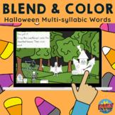 *FREE Blend & Color: Halloween Multisyllabic Words - Phonemic Awareness Activity