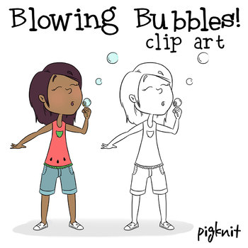 FREE Blowing Bubbles Character Clipart