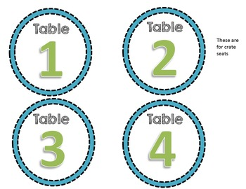 FREE Blue & Green table numbers