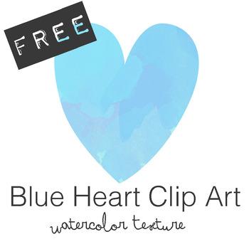 FREE Blue Watercolor Heart Clip Art