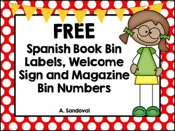 FREE Book Bin Labels in Spanish