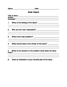Free book report template for any fictional story by ann stalcup free book report template for any fictional story pronofoot35fo Image collections