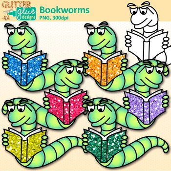 Bookworm Clip Art {Back to School Graphics for Your School & Classroom Library}