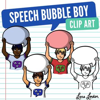 FREE Boy Holding Speech Bubble Clip Art