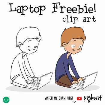 FREE Boy with Laptop Clip Art