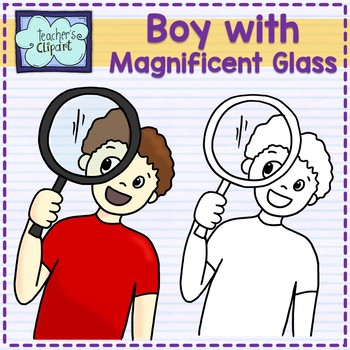 FREE Boy with magnificent glass Clip art