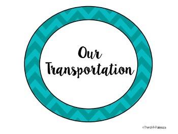 FREE Bright Chevron Transportation Chart