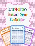 FREE Bright Monthly Calendar 2019-2020 New School Year PRI