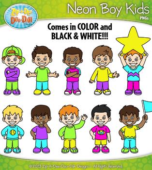 FREE Bright Neon Boy Kid Characters Clipart {Zip-A-Dee-Doo-Dah Designs}