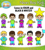 FREE Bright Neon Boy Kid Characters Clipart {Zip-A-Dee-Doo