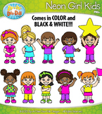 FREE Bright Neon Girl Kid Characters Clipart {Zip-A-Dee-Do