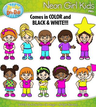 Bright Neon Girl Kid Characters Clipart {Zip-A-Dee-Doo-Dah Designs}