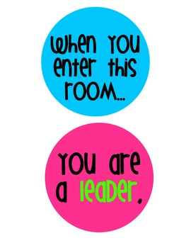 "FREE Bright and Cheerful Inspirational Posters (""When you enter this room..."")"