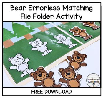 FREE Brown Bear Errorless File Folder Game