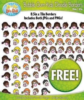 FREE Bubble Gum Kids Characters Doodle Borders Set  — Incl