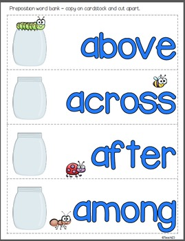 Preposition Word Cards Cut and Paste assignment with an insect theme