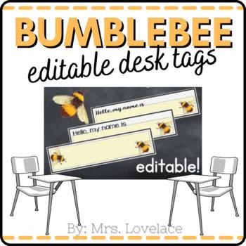 **FREE** Bumblebee Name Tags for Desk - Printable