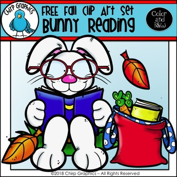 FREE Bunny Reading Fall Clip Art Set - Chirp Graphics