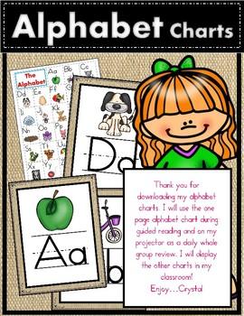 FREE Burlap Alphabet Charts