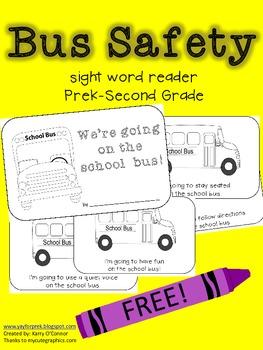 FREE!  Bus Safety Sight Word Reader {PreK - 2}