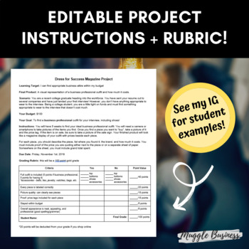 FREE Business Attire Dress for Success Project Instructions + Rubric (Editable)