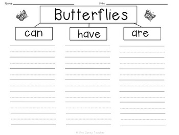FREE Butterfly Graphic Organizers