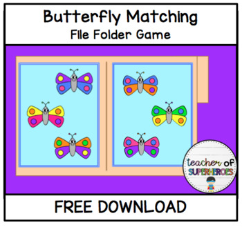 FREE Butterfly Matching File Folder Game