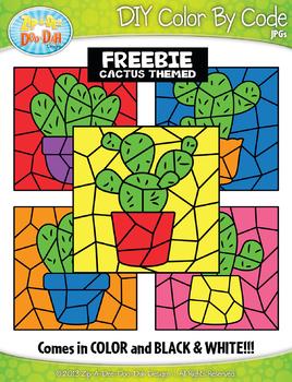 FREE CACTUS Color By Code Clipart {Zip-A-Dee-Doo-Dah Designs}