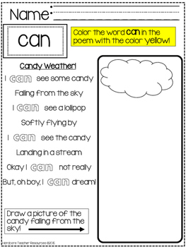 FREE *CAN* Sight Word Silly Poem & Activity PREVIEW