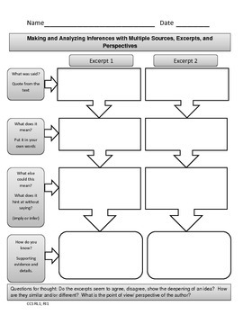 FREE CCSS Graphic Organizer: Making & Analyzing Inferences/Multiple Perspectives