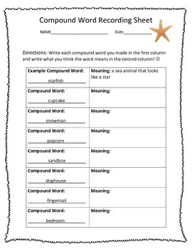 FREE CCSS L.2.4d Compound Word Recording Sheet